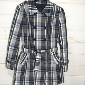 Esprit Plaid Asymmetrical Belted Trench coat Sz 10